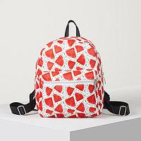 Рюкзак молодёжный, отдел на молнии, наружный карман, 2 боковых кармана, цвет белый/красный