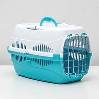 """Переноска для животных до 9 кг """"Пижон"""", металлическая дверь, 43х29х27,5 см, бело-бирюзовая"""