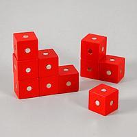 "Магнитный констрктор ""Кубики"" 10 шт размер кубика 2х2х2 см цвет МИКС"