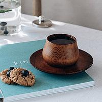 """Чайная пара """"Меренга"""" из сибирского кедра,чашка : 150 мл,блюдце: 15,5x2 см, цвет шоколадный"""