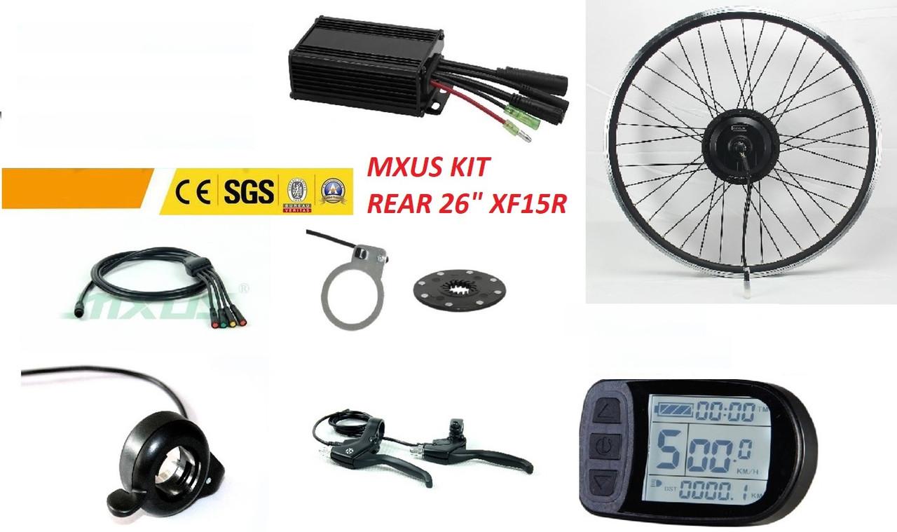 "Эл. набор. Мотор-колесо MXUS XF15,  36 V 350 W бесщёточный.  LCD 5. Обод 26 "". Заднее."