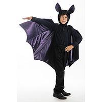 Карнавальный костюм «Летучая мышь», брюки, фуфайка, крылья, шапка, р. 34, рост 134 см