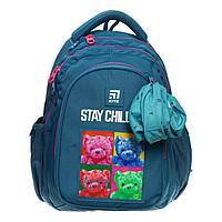Рюкзак школьный, Kite 8001, 40 х 29 х 17 см, эргономичная спинка, серо-голубой