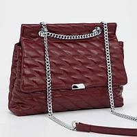 Сумка-мессенджер, отдел на клапане, наружный карман, длинная цепь, цвет бордовый