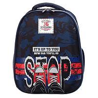 Рюкзак каркасный deVENTE Choice 38 х 28 х 16 см, Stop, синий/чёрный/красный