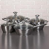 Набор посуды 'Клара', 4 предмета кастрюли 3,4/5,8 л, ковш 1,9 л, сотейник с антипригарным покрытием 24 см,