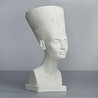 Гипсовая фигура, бюст Нефертити в шапке 'Мастерская Экорше', 24 х 37 х 51 см
