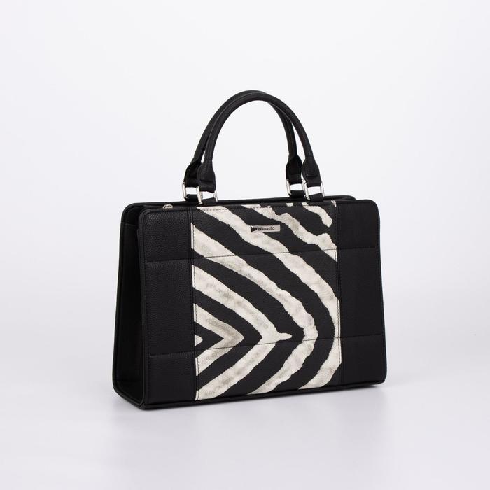 Сумка женская, отдел на молнии, наружный карман, длинный ремень, цвет чёрный/белый - фото 1