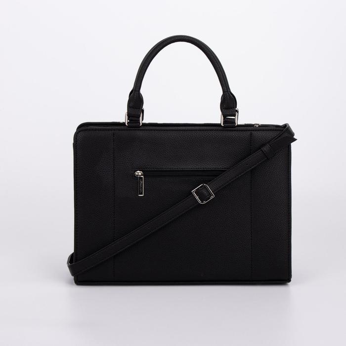 Сумка женская, отдел на молнии, наружный карман, длинный ремень, цвет чёрный/белый - фото 2