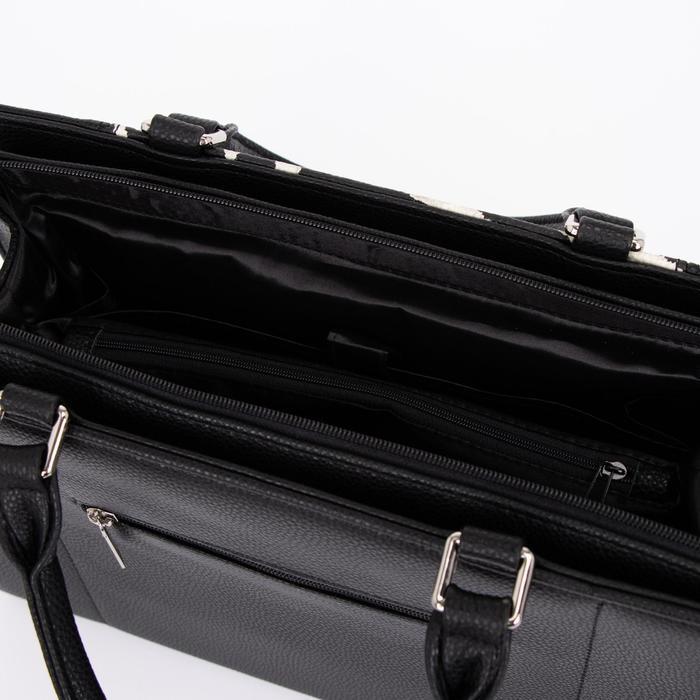 Сумка женская, отдел на молнии, наружный карман, длинный ремень, цвет чёрный/белый - фото 3