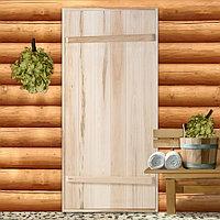 Дверной блок для бани, 170x80см, из липы, на клиньях, массив, 'Добропаровъ'
