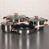 Набор посуды 'Злата', 4 предмета кастрюли 3,6 л, 6,1 л, ковш 1,9 л, сотейник d24 см, антипригарное покрытие,