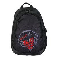 Рюкзак школьный Hatber Sreet 42 х 30 х 20, для девочки Music of the heart USB-выходом, чёрный