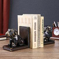 Держатели для книг 'Чёрные бульдоги' с золотом набор 2 штуки 14х15,5х9 см