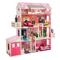 Деревянный дом для кукол 'Нежность', (28 предметов мебели, 2 лестницы, гараж)