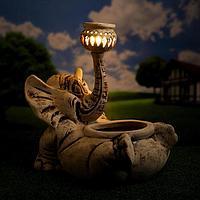 Садовый светильник-кашпо 'Слон Моня', шамот, 15 л, без элемента питания