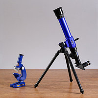 Набор обучающий 'Опыт' телескоп настольный , сменные линзы 20х/ 30х/ 40х, микроскоп 100х/ 200х/ 450х,