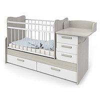 Кроватка детская Вероника (трансформер) Ясень шимо светлый/Белый