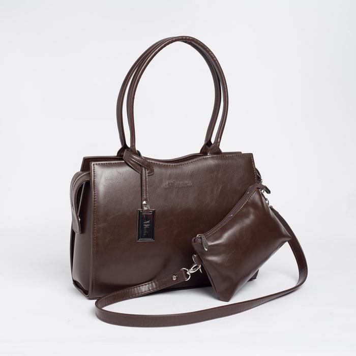 Сумка женская, отдел на молнии, наружный карман, длинный ремень, цвет тёмно-коричневый - фото 1