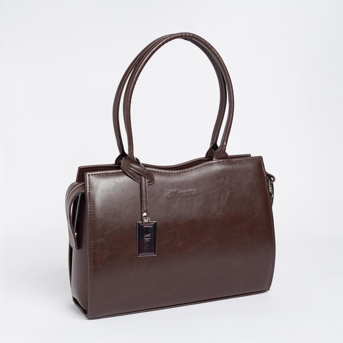 Сумка женская, отдел на молнии, наружный карман, длинный ремень, цвет тёмно-коричневый - фото 2