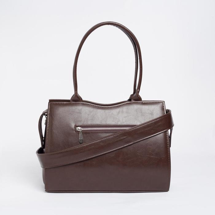 Сумка женская, отдел на молнии, наружный карман, длинный ремень, цвет тёмно-коричневый - фото 3