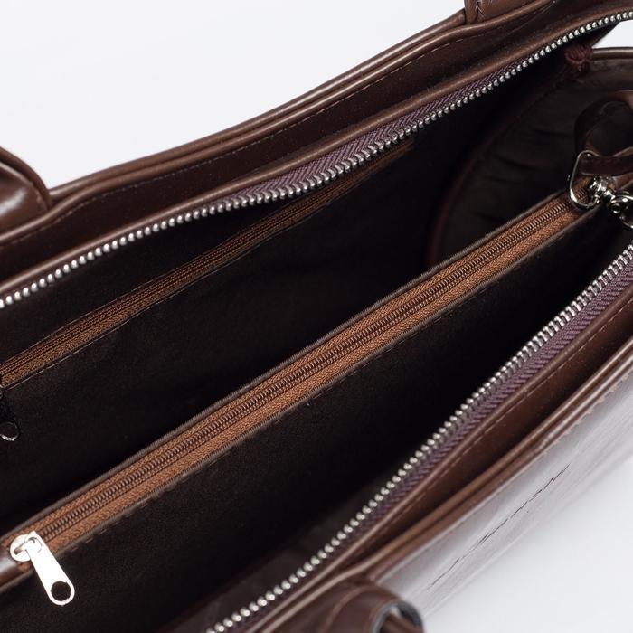 Сумка женская, отдел на молнии, наружный карман, длинный ремень, цвет тёмно-коричневый - фото 4
