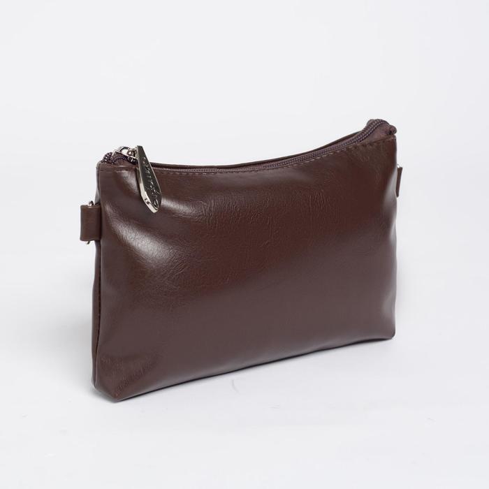 Сумка женская, отдел на молнии, наружный карман, длинный ремень, цвет тёмно-коричневый - фото 5
