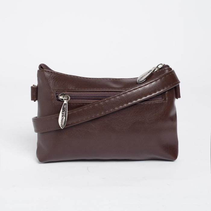 Сумка женская, отдел на молнии, наружный карман, длинный ремень, цвет тёмно-коричневый - фото 6