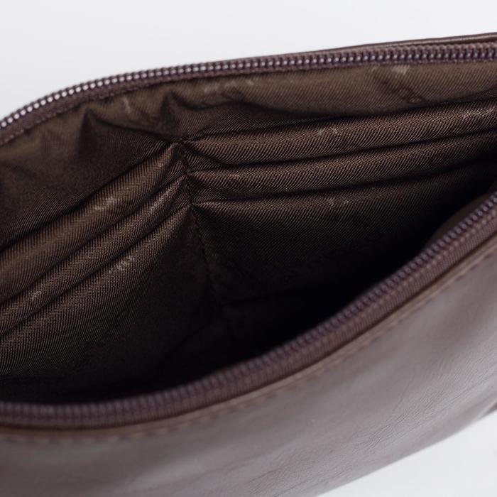 Сумка женская, отдел на молнии, наружный карман, длинный ремень, цвет тёмно-коричневый - фото 7