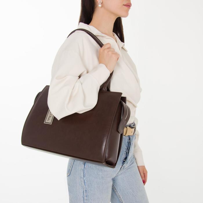 Сумка женская, отдел на молнии, наружный карман, длинный ремень, цвет тёмно-коричневый - фото 8
