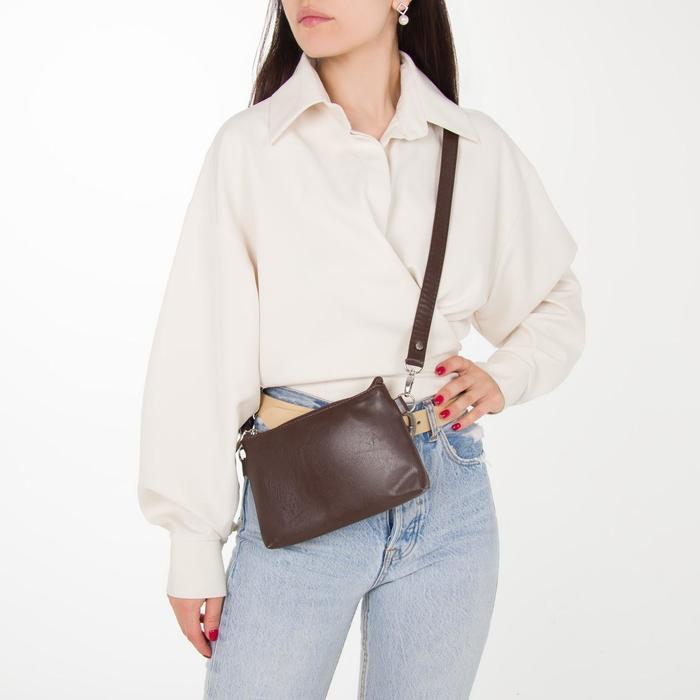 Сумка женская, отдел на молнии, наружный карман, длинный ремень, цвет тёмно-коричневый - фото 9