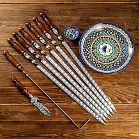 Набор узбекских шампуров для люля-кебаб, 50см, + аксессуары 'Ташкент' 10 предм.