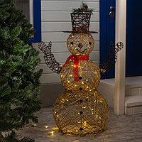 Фигура светодиодная 'Снеговик золотой' 120х60х60 см, 160 LED, 220V, Т/БЕЛЫЙ