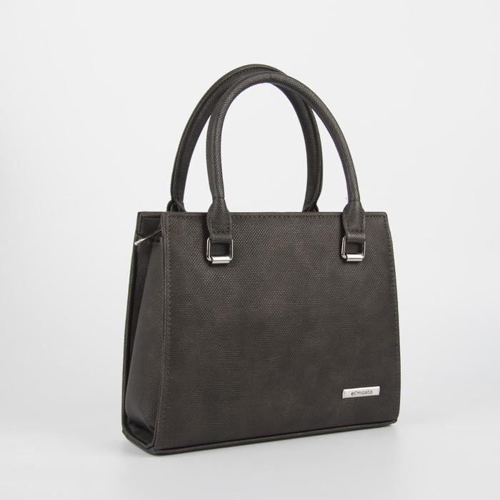 Сумка женская, отдел на молнии, наружный карман, длинный ремень, цвет серый/коричневый - фото 1