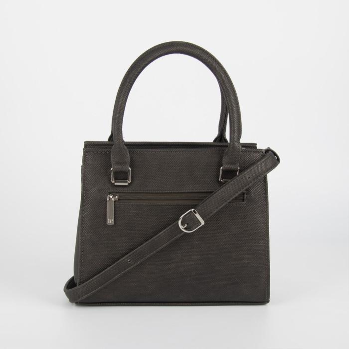 Сумка женская, отдел на молнии, наружный карман, длинный ремень, цвет серый/коричневый - фото 2