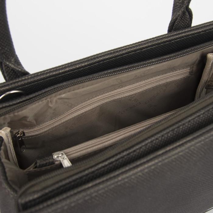 Сумка женская, отдел на молнии, наружный карман, длинный ремень, цвет серый/коричневый - фото 3