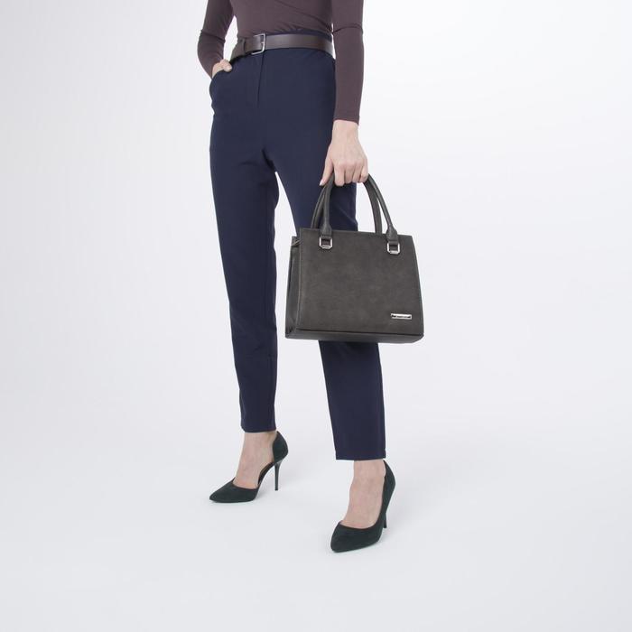 Сумка женская, отдел на молнии, наружный карман, длинный ремень, цвет серый/коричневый - фото 4