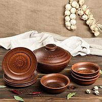 Набор посуды из красной глины 'Эко', 9 предметов сковорода 3,5 л, глубокие тарелки 0.8 л, плоские тарелки 20