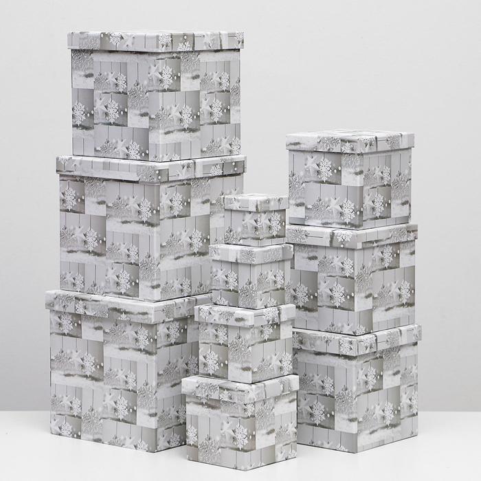 Набор коробок 10 в 1 квадратный, 26,5 х 26,5 - 8,5 х 8,5 см - фото 1