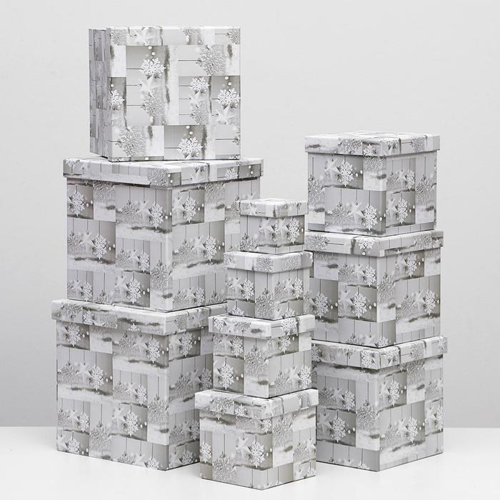 Набор коробок 10 в 1 квадратный, 26,5 х 26,5 - 8,5 х 8,5 см - фото 2