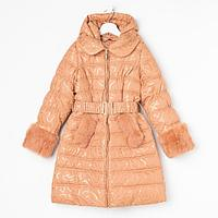 Пальто для девочки, цвет золотистый, рост 140