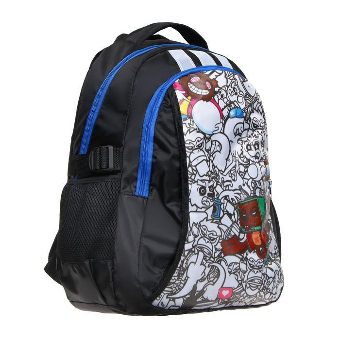 Рюкзак молодежный эргоном. мягкая спинка Calligrata 43х31х17 см 'Треш', бел/чёрн/коричн - фото 2