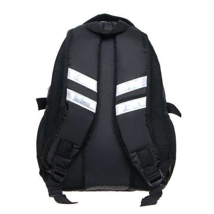 Рюкзак молодежный эргоном. мягкая спинка Calligrata 43х31х17 см 'Треш', бел/чёрн/коричн - фото 4