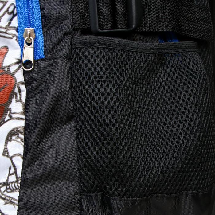 Рюкзак молодежный эргоном. мягкая спинка Calligrata 43х31х17 см 'Треш', бел/чёрн/коричн - фото 7