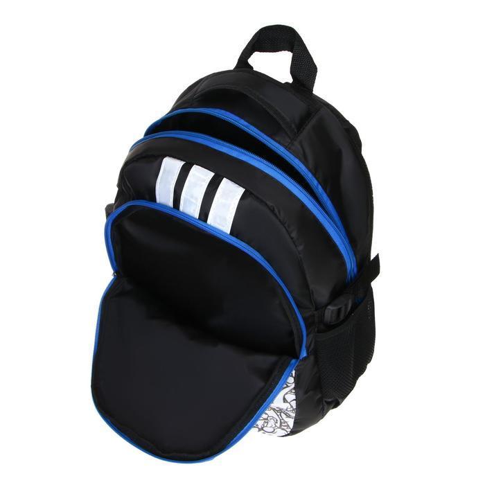 Рюкзак молодежный эргоном. мягкая спинка Calligrata 43х31х17 см 'Треш', бел/чёрн/коричн - фото 9