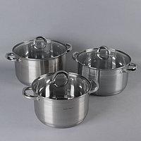 Набор посуды 'Куин', 3 предмета 6,5 л, 8,2 л, 10,1 л, индукция, мерная шкала, капсульное дно