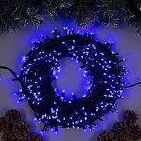 Гирлянда 'Клип-лайт' 100 м , IP44, УМС, тёмная нить, 1000 LED, свечение синее, фиксинг, 24 В