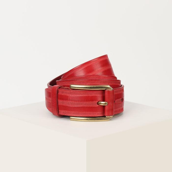 Ремень женский, ширина 3,5 см, пряжка металл, цвет красный - фото 1