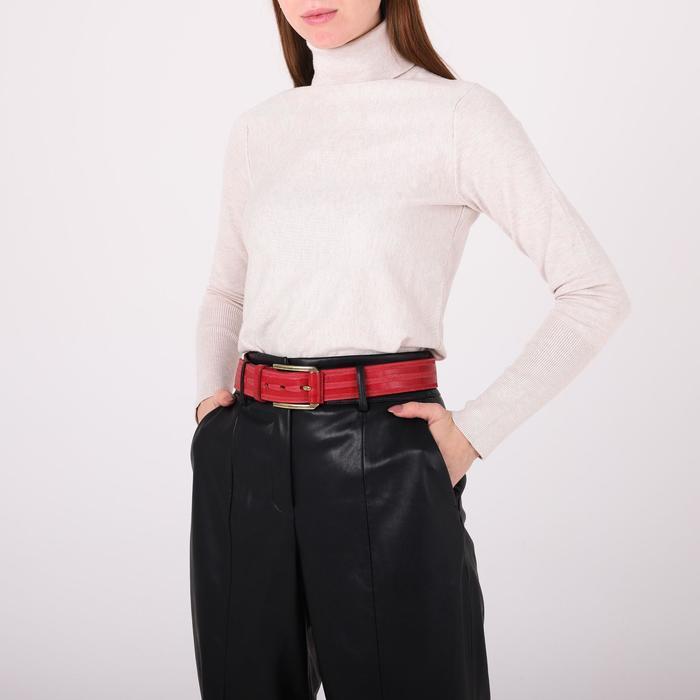 Ремень женский, ширина 3,5 см, пряжка металл, цвет красный - фото 5