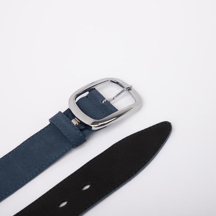Ремень женский, ширина 4 см, винт, пряжка металл, цвет синий - фото 3